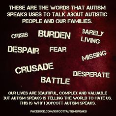These are the words Autism Speaks Uses to Talk About Us By Lei #WhyIBoycottAutismSpeaks