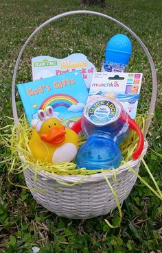 Easter basket for my 9 month old son basket is filled with the babys first easter basket negle Images