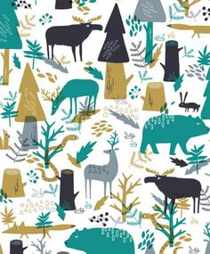 woodland pattern with bears, moose, foxes, deer and snakes. Love the mix of teal, khaki and grey. What a gorgeous print!