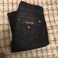 Hudson Jeans Extremely comfortable Hudson Jeans, size 24, worn only twice! Only sign of wear is seen in the last picture on the bottom on the jeans. Jeans begin to flare out past the knee! Dark wash denim. Hudson Jeans Jeans Flare & Wide Leg