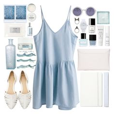 """""""Blues"""" by nikka-solatorio ❤ liked on Polyvore featuring Atelier Cologne, Korres, NLY Accessories, Chanel, This Works, Butter London, Stila, Moleskine, Natio and Marc by Marc Jacobs"""