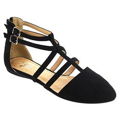 Betani FC42 Women's Ankle Strap Ballerina Ballet Flats, Color:BLACK-1, Size:8.5 *** Details can be found by clicking on the image.
