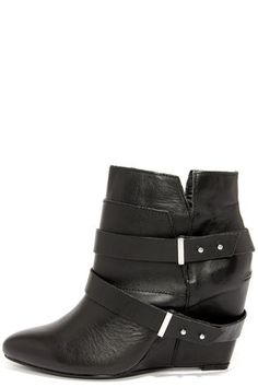Naughty Monkey Angle Tangle Black Leather Wedge Booties at Lulus.com!