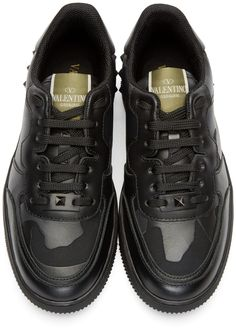 Valentino Black Leather Camo Low-Top Sneakers