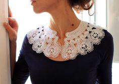 Large Russian bobbin lace  handmade collar