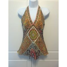 """Laundry Silk V Neck Halter Top Beautiful 100% silk halter top in great colors. Hidden side zipper and ties at neck. Perfect under a brown blazer! Measures 16.5"""" armpit to armpit and will accommodate at least a C cup. Under bust and waist measures 14.5"""", lying flat, and it is 19"""" at hips. Excellent condition. Laundry by Shelli Segal Tops"""