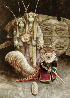 Journeys [the Runes of Elfland] - brian-froud Photo Magical Creatures, Fantasy Creatures, John Howe, Brian Froud, The Dark Crystal, Fairy Art, Art Blog, Elves, Fantasy Art