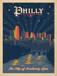 Denny's commissioned Anderson Design Group to create artwork of seven American landscapes in the style of old travel posters from the 1940s. This scene celebrates Philadelphia, the City of Brotherly Love.