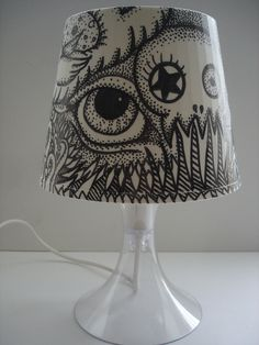 Altered Ikea Hacked Lampan OOAK Pointillism Pen and Ink Shade Skull, All Seeing Eye, Tenticals, weird art. $65,00, via Etsy.