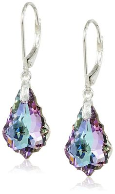 Queenberry Vitrial Light Purple Swarovski Elements Crystal Sterling Silver Leverback Dangle Earrings * Click on the image for additional details.