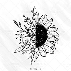 Cool Art Drawings, Art Drawings Sketches, Easy Drawings, Tattoos Motive, Tatoos, Sunflower Tattoos, Flower Clipart, Cute Tattoos, Doodle Art