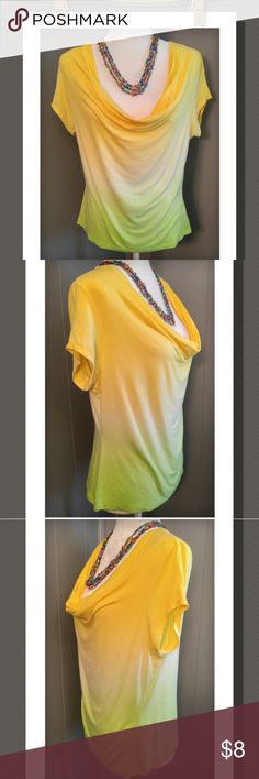 2Tone Top Nice bright 2tone colored top with a low-cowl neck ..its super cute!  97% Rayon 3% Spandex fever Tops