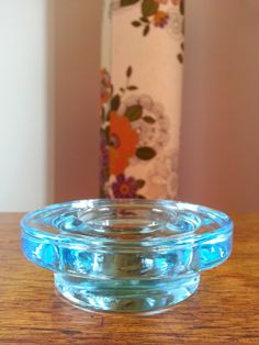 Iittala Finland Halo blue glass candle holder by fcollectables, €15.00