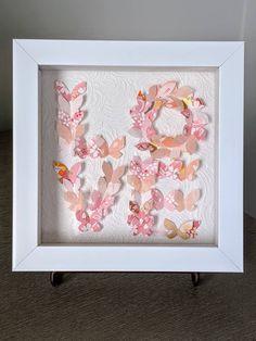"Pink Butterfly Art, Love, Wall Art, Washi Art, Home Decor, Japanese Rice Paper Art, Origami Art, Framed Art, Gift, 7""x7""x1"", Free Shipping Japanese Origami, Japanese Rice, Love Wall Art, Pink Butterfly, Paper Dimensions, Origami Paper, Rice Paper, Fall Crafts, Washi"