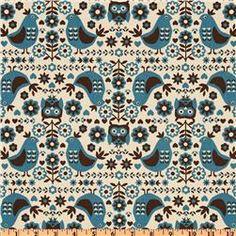 Kokka Trefle Cotton/Linen Blend Canvas Birds & Owls Natural  Item Number: ET-850  Our Price: $19.98 per Yard