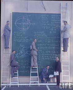 at NASA's drawing board, c. 1960s • j. r. eyerman    Who needs computers!