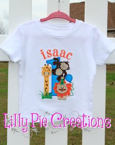 Personalized Zoo Themed 1st Birthday Shirt or by LillyPieCreations