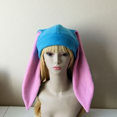 09f0308ef93 Fleece Rabbit Hat   Bright BLUE + Bubblegum PINK Beanie Style with Long  Bunny Ears Cute Anime Cosplay Rabbit Usagi Kawaii Japanese Fashion