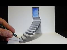 Drawing Stairs to the Door - How to Draw Steps - Anamorphic Illusion - Vamos . Drawing Stairs t Easy 3d Drawing, 3d Art Drawing, Drawing For Kids, Paper Drawing, 3d Pencil Drawings, Realistic Drawings, Cool Drawings, Illusion Drawings, Illusion Art