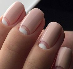Picture Of half moon nails inspired by French manicure