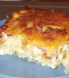 Breakfast Casserole - I used turkey sausage instead of bacon and less cheese. Taste great, easy breakfast for a couple days.