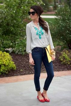 Button Down, Jeans, & Turquoise