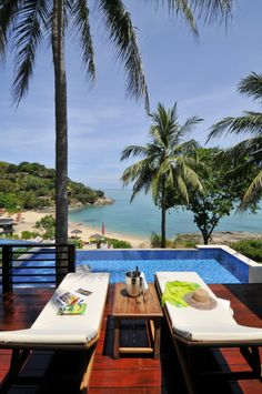 "The Tongsai Bay - Koh Samui Poolside Villa Set within lush tropical gardens on a hillside overlooking a secluded sandy bay, accommodation at The Tongsai Bay consists of 83 suites, cottages and villas. All rooms offer spectacular ocean views and boast spacious terraces featuring Tongsai Bay signature ""bathtub with a view"" . - Tropical Gardens, Koh Samui, Ocean Views, Terraces, Villas, Sun Lounger, Cottages, Lush, Thailand"