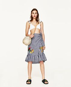 ZARA - WOMAN - GINGHAM EMBROIDERED SKIRT