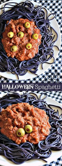 Easy Halloween Spaghetti--view the recipe here! http://www.the36thavenue.com/halloween-spaghetti/