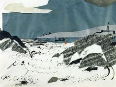John Piper Angle Bay, 1938 Collage, watercolour and ink, x cm / Offer Waterman, London Landscape Drawings, Landscape Art, Landscapes, John Piper Artist, Collages, Collage Kunst, Collage Artwork, Plein Air, Watercolor And Ink