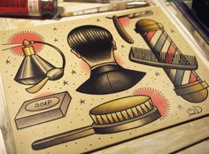 Items similar to Tools of the Trade Barber Barbering Tattoo Flash Art Print on Etsy Using Acrylic Paint, Acrylic Painting Canvas, Leg Tattoos, Cool Tattoos, Forarm Tattoos, Cosmetology Tattoos, Barber Tattoo, Barber Logo, Corrugated Sheets