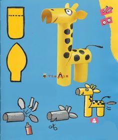 Giraffe tutorial from toilet paper tubes Toilet Roll Craft, Toilet Paper Roll Art, Rolled Paper Art, Toilet Paper Roll Crafts, Animal Crafts For Kids, Paper Crafts For Kids, Preschool Crafts, Projects For Kids, Diy For Kids