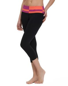 Checkerboard Crop has a zipper pocket in the core compression waistband. $74.00 #yogapants #running