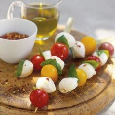 Antipasti  Delicious starters don't have to be time-consuming. Bocconcini and Tomato Skewers are a creative twist on the traditional caprese, and you can't go wrong with easy, flavorful Marinated Olives.