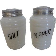 Vintage Hazel Atlas Ringed Salt and Pepper Range Shakers White w Black