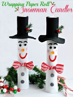 Wrapping Paper Roll Snowman Candles- Or could make with Paper Towel rolls as well.
