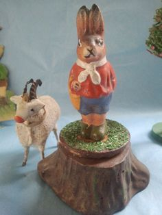 Antique Charming Easter x mas Putz Scene Easter Bunny Candy Container | eBay