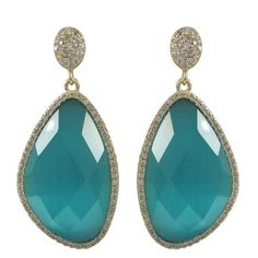 Aqua Cat's Eye Gold Plated Sterling Silver CZ Earrings from The Luxe Store