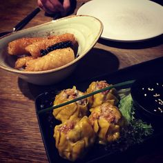 Peppered squid and pork dumplings - Thai Pad, Oxted
