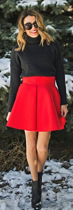 Grey Knit Sweater   Red Flare Skirt