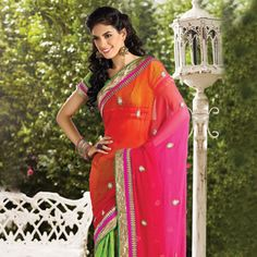 Pink, Red and Green Faux Chiffon and Faux Georgette Saree with Blouse