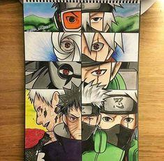 Obito and kakashi Anime Naruto, Naruto Fan Art, Naruto Shippuden Sasuke, Naruto Kakashi, Boruto, Kakashi Sharingan, Naruto Sketch, Naruto Drawings, Anime Eyes