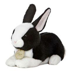 "8"" Aurora Plush Dutch Bunny Rabbit Miyoni Black White Stuffed Animal Toy New | eBay"
