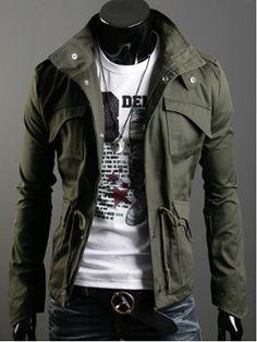 Men's Stand Collar Short Parka
