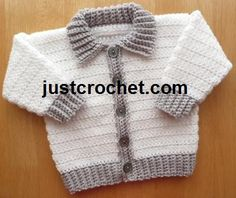 Collared Jacket Baby Crochet Pattern DOWNLOAD 150 by justcrochet1