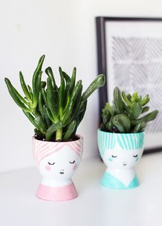 DIY painted egg cup planters - so sweet! // via @thelovelydrawer for @SugarAndCloth