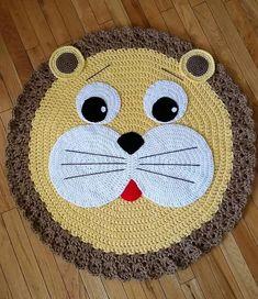 Crochet Mat, Crochet Lion, Crochet Carpet, Baby Afghan Crochet, Crochet For Boys, Crochet Pillow, Crochet Blanket Patterns, Baby Knitting Patterns, Crochet Animals