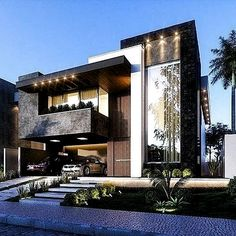 45 luxury modern house exterior design ideas – My Ideas Modern House Facades, Modern Architecture House, Modern House Plans, Architecture Design, Luxury Modern Homes, Luxury Homes Dream Houses, Modern Mansion, Bungalow House Design, House Front Design