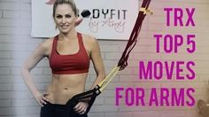 Here are 5 of my favorite TRX exercises to help you strengthen and tone your arms. Add these moves to your current TRX Workout to supercharge your routine an. Trx Ab Workout, Trx Abs, Gym Workout Chart, Workout Videos, Cardio, Suspension Workout, Trx Suspension Trainer, Suspension Training, Trx Workouts For Women