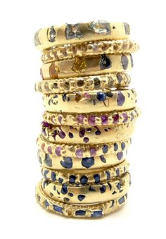 Polly Wales, Crystal Rainbow Stack, 2013, bangles, crystals, gold, 2mm wide, photo: Polly Wales